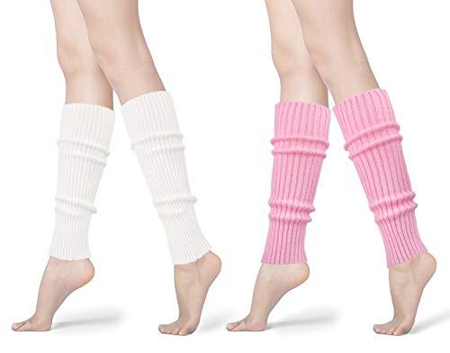 Womens 80s Neon Ribbed Knit Crochet Dance Yoga Leg Warmers Long Socks (White+Pick(2 pairs))