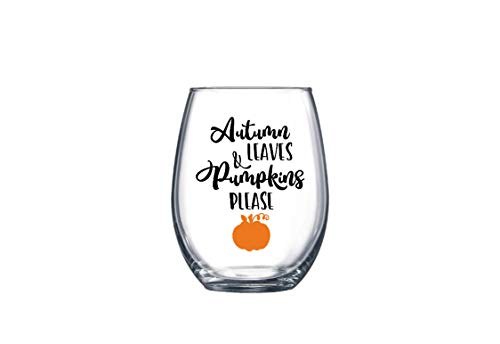 Autumn Leaves and Pumpkins Please Fall Harvest Thanksgiving Stemless Wine Glass 21 oz. Multiple Color Options ()