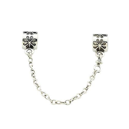 (Beads Hunter Jewelry SOLID STERLING SILVER Safety Chain Fit Pandora (Daisy flower))
