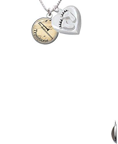 Domed Music Trombone Custom Engraved Baby Feet Heart Locket Necklace