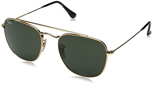 Ray-Ban Men's Metal Man Square Sunglasses, Gold/Green, 54 - Ray Clubmaster 54mm Ban