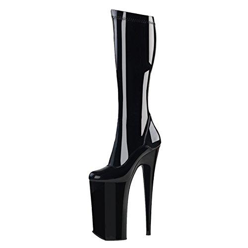 Kniehohe Stretch Stiefel mit Plateau Pleaser schwarz BEYOND-2000