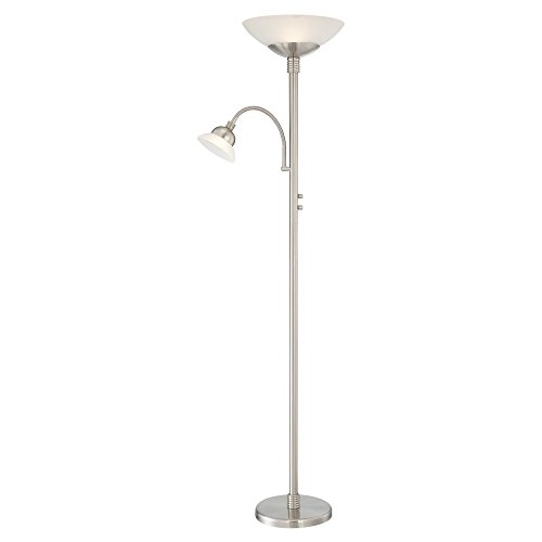 Lite Source Natalia Nickel LED Reading and Torchiere Floor L
