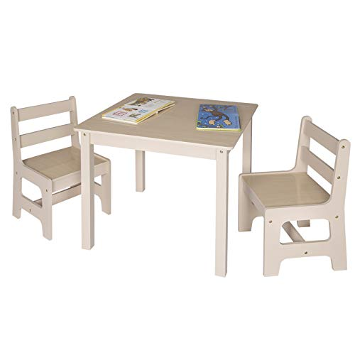 Table ib style/® Luca Colors Childrens Table and Chairs Set  Wooden 2 Chairs White-Blue