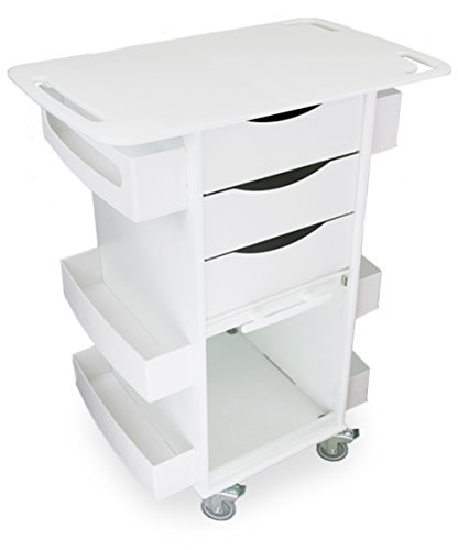 "TrippNT 51421 Polyethylene/ABS Core DX Cart with Extended 29"" Top, Clear PETG Hinged Door, 29"" Width x 35"" Height x 19"" Depth, White"