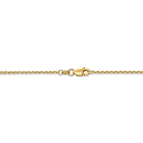 Gold Anklet Diamond Cut Cable - 1.3 mm 14k Yellow Gold Diamond-Cut Cable Chain Ankle Bracelet - 9 Inch