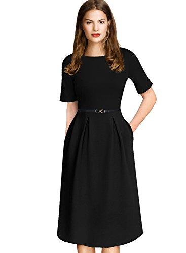A-line Sheath (VfEmage Womens Vintage Summer Polka Dot Wear To Work Casual A-line Dress 7190 BLK M)