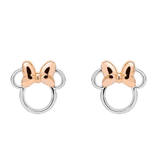 Disney Minnie Mouse Sterling Silver Two Tone Stud Earrings with Pink Bow, Mickey's 90th Birthday Anniversary; Jewelry for Women and Girls