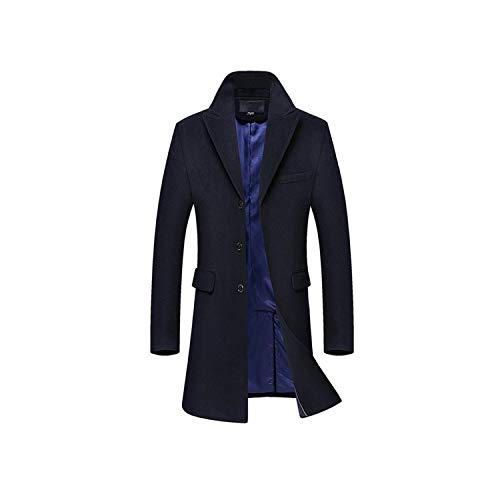 Wool Jacket Men British Style Trench Coat Casual Long Woolen Outwear Wool Blend Jacket No Scar,Dark Blue,XXXL