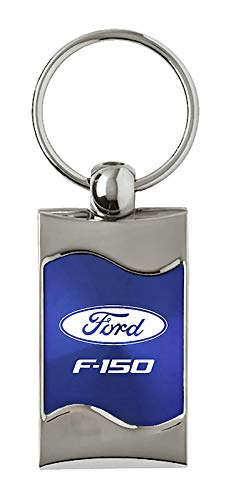 Ford F-150 Rectangular Wave Blue Key Fob Authentic Logo Key Chain Key Ring Keychain Lanyard