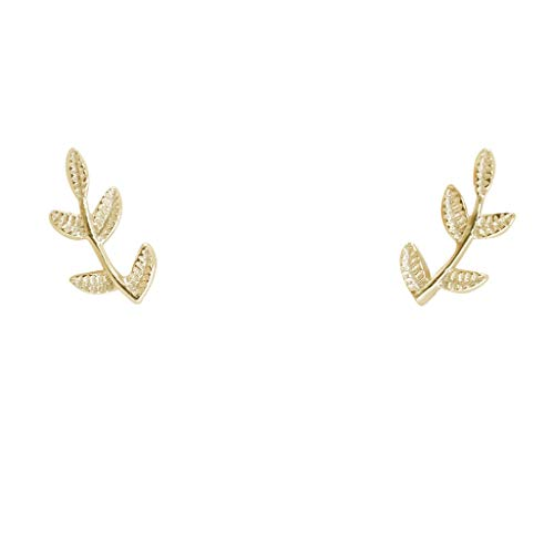 Humble Chic Tiny Leaf Studs - 925 Sterling Silver Dainty Branch Post Ear Stud Earrings
