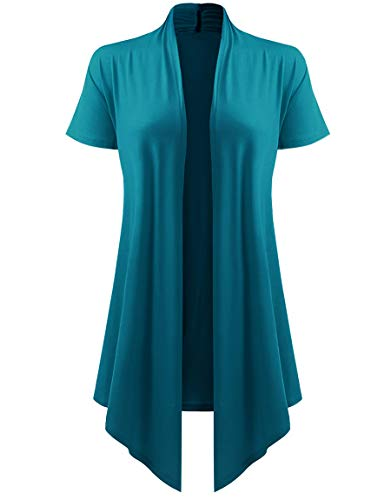 Dutebare Womens Short Sleeve Open Front Cardigan Drape Hem Lightweight Cardigans Blue Green M