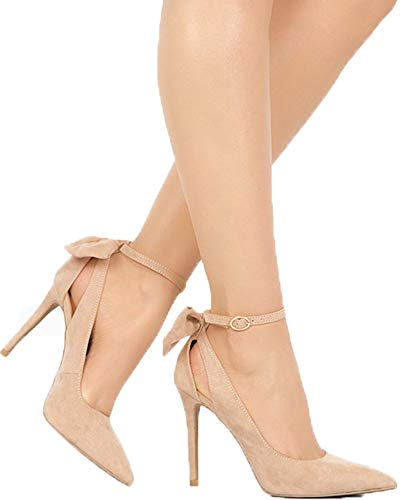 YOMISOY Womens High Heel Pump Bowtie Pointed Toe Ankle Strap Buckle Summer Party Wedding Shoes Beige Buckle High Heel Pump
