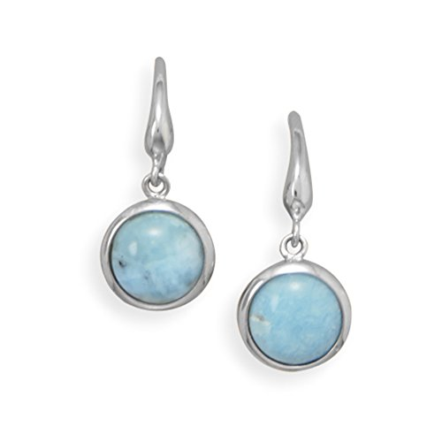 Atlantis Stone Larimar Earrings Rhodium-plated Sterling Silver Round Shape – Nontarnish