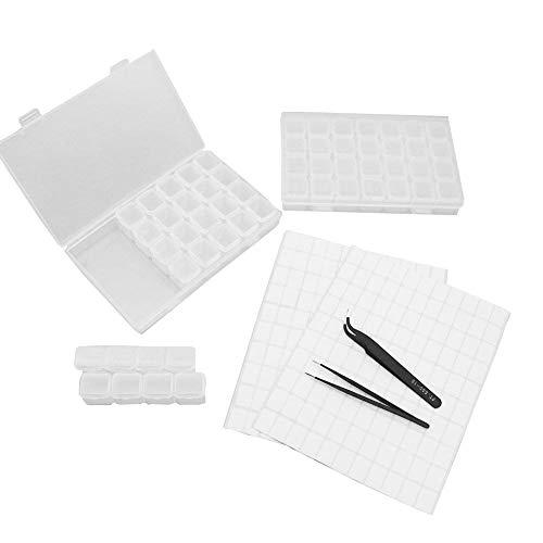 QICI 2 Pack 28 Slots Diamond Embroidery Box Adjustable Storage Boxes Of Diamond Painting Accessories ,DIY Craft Diamond Painting Rhinestone with Tweezers (2 Pack)