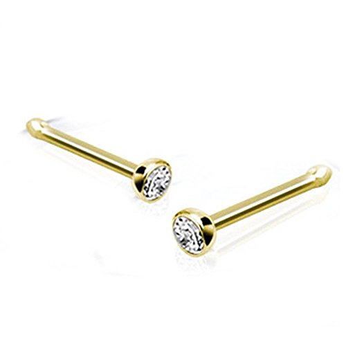 West Coast Jewelry 14 Karat Solid Yellow Gold Nose Stud Ring with 2mm Bezel Set Clear CZ Ball - 20 GA (2mm Ball) (Sold Ind.)