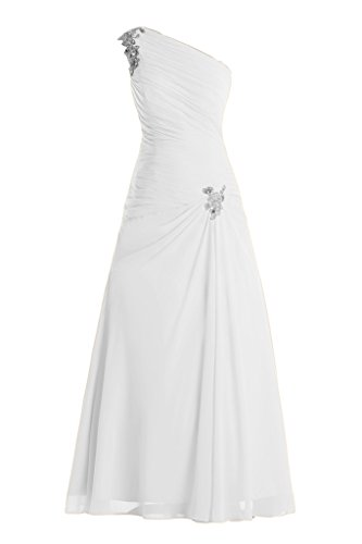 Toscana ed una-spalla Chiffon sposa la sera abito lungo un'ampia Party ball vestimento bianco 40