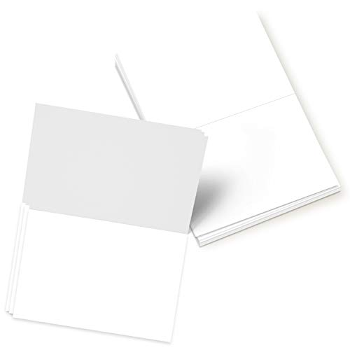 Folding Greeting Cards Uncoated, 5x7 Inches When Folded in Half - 50 Cards (White) ()