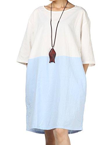 Mordenmiss Women's Color Block Round Neck T-Shirt Dress Half Sleeve Long Dress Blue XL (Summer Cool Dress)