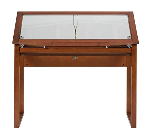 Studio Designs Ponderosa Glass Topped Table in Sonoma Brown 13280 - Glass Art Stained Tray