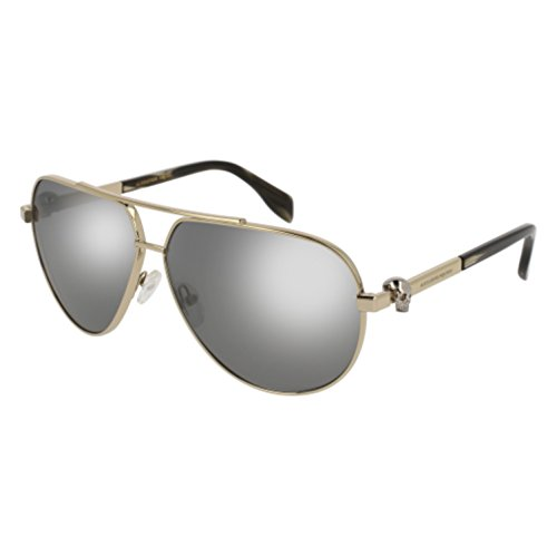 Alexander McQueen Unisex AM0018S Gold/Grey Flash Silver One - Alexander Gray Optical