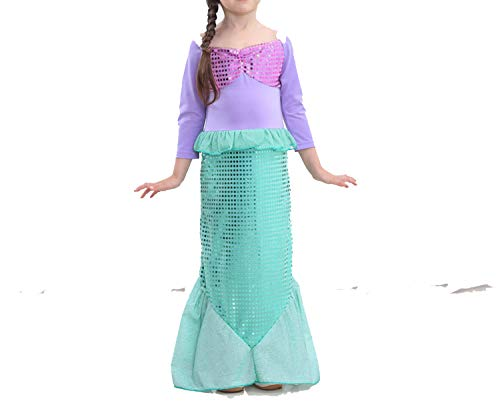 Baby Clothes Kids Mermaid Dresses Princess Ariel CHalloween Costume Party,Green,L -