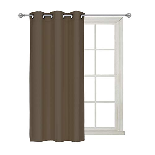 Home Queen Premium Thermal Insulated Short Blackout Curtains for Bedroom, with Antique Bronze Grommet Top, 42 Inch Width by 63 Inches Length, 1 Piece, Chocolate