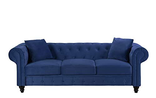 Divano Roma Furniture Classic Velvet Scroll Arm Tufted Button Chesterfield Sofa (Blue) (Sofa Blue Chesterfield)