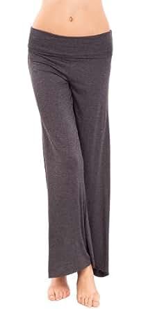 Charcoal Ladies Wide Leg Fold-Over Waist Pants