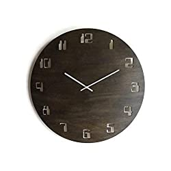 23,5 Non ticking Geek wooden extra large wall clock with numbers of old computer 20 available colors as dark walnut Battery operated Poplar plywood Modern huge clocks design by italian designer