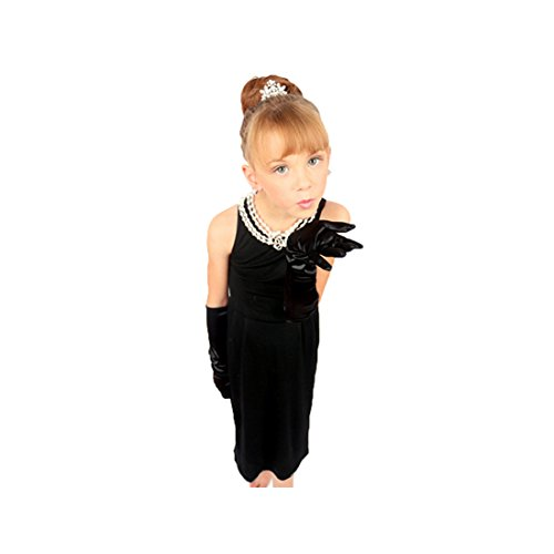 Utopiat Dress, Audrey Hepburn Breakfast at Tiffany's Costume, Girls, Black Cotton (S)]()
