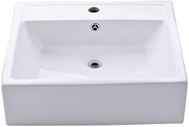 KES Bathroom Sink, Vessel Sink Porcelain 20 Inch Above Counter White Countertop Bowl Sink for Lavatory Vanity Cabinet Contemporary Style, BVS116