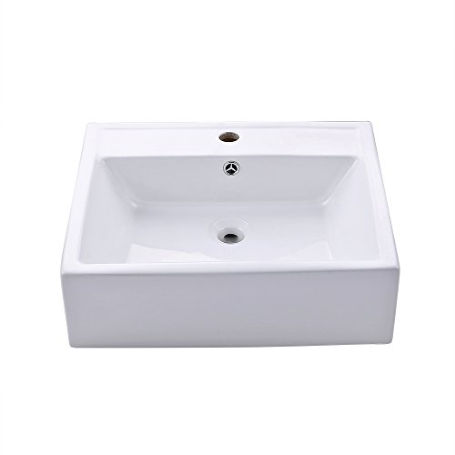 (KES Bathroom Sink, Vessel Sink Porcelain 20 Inch Above Counter White Countertop Bowl Sink for Lavatory Vanity Cabinet Contemporary Style, BVS116)