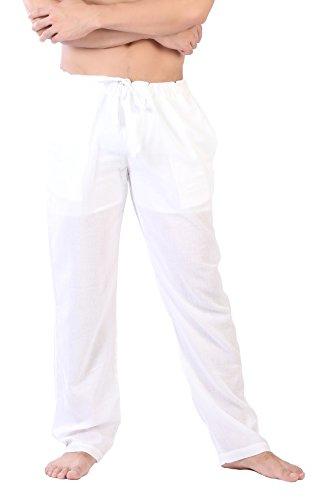 CandyHusky Light Cotton Straight-Leg Drawstring Summer Lounge Casual Yoga Pants (M, White)
