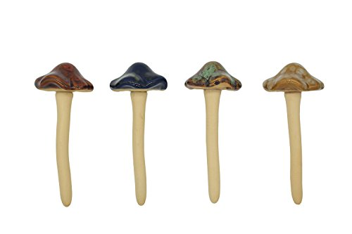 Djiale 4-Pack Ceramic Garden Mushrooms, Flower Decoration of 4.7 inches]()
