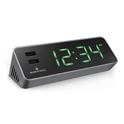 Marathon CL030055GG LED Alarm Clock with Two Fast Charging, Front Facing USB Ports (Graphite Grey). Great for Travelling