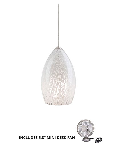 (Tech Lighting 700FJFIRSS, Firebird Mini Low Volt Murano Glass Pendant, Halogen, Nickel (Includes Mini Desk Fan))