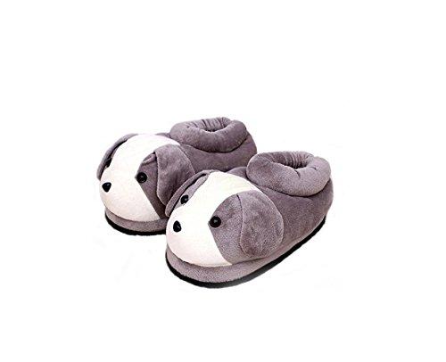 chaudes maison chaussures animaux peluche douce Grey Light de pantoufles la neutres animaux Chaussures en à bande dessinée maison A8SxwYq