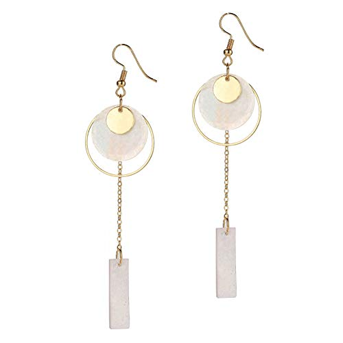 Shell Rectangle Pendant - Potato001 Charming Rectangle Shell Pendant Hollow Hoop Dangle Long Earrings Jewelry Gift - Golden