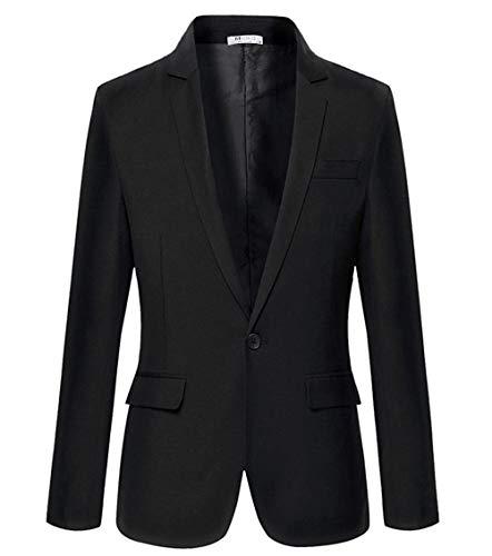 Misakia Casual Slim Fit One Button Suit Blazer Coat Jacket Men Fashion (Black XL) ()