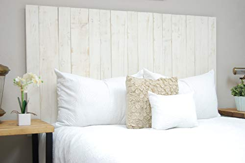 Whitewash Headboard Queen Size Weathered, Leaner Style, Handcrafted. Leans on Wall. Easy Installation