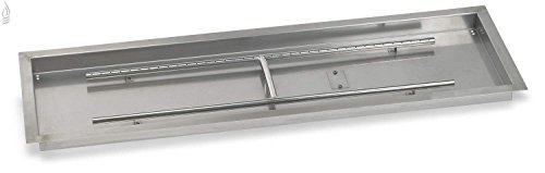 American Fireglass Stainless Steel Drop-In Fire Pit Pan and Burner, 48 by 14-Inch
