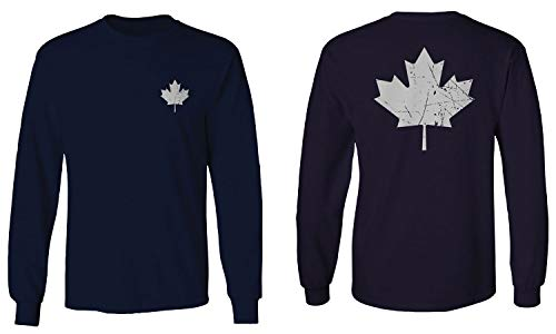 Canadian Maple Leaf Flag Canada Pride Vintage Style Men's Long Sleeve t Shirt (Navy Blue, Large)