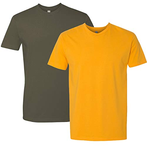 - Next Level Mens Premium Fitted Short-Sleeve Crew T-Shirt - Military Green + Gold (2 Pack) - X-Small