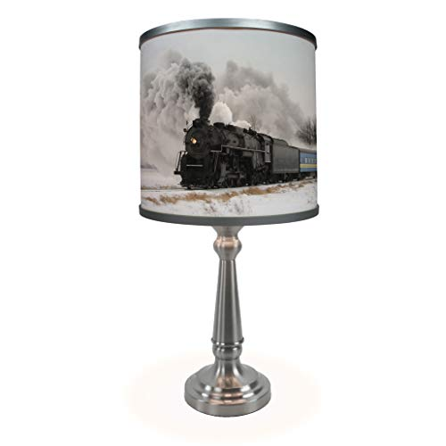 Train in Winter Table Lamp - Museum Quality Art Print Illuminated on ()