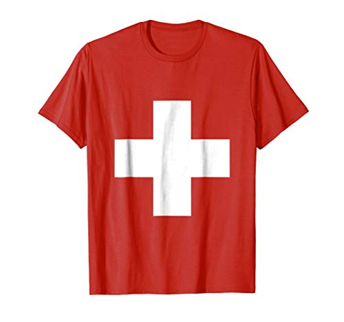 Last minute DIY Halloween Costume Shirt Swiss Flag Shirt]()