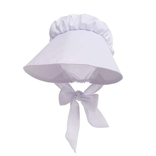 GRACEART Women's Pilgrim Costume Bonnet Oversized Hat 100% Cotton White ()