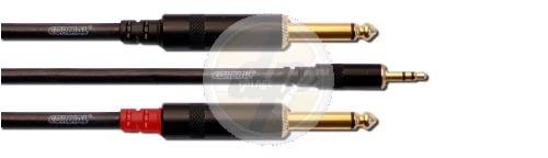 Cordial CFY 3 WPP Y-Adaptor Cable 3.5 mm Stereo Jack / 2x 6.3 mm Mono Jack 3 m with Gold-Plated Contacts