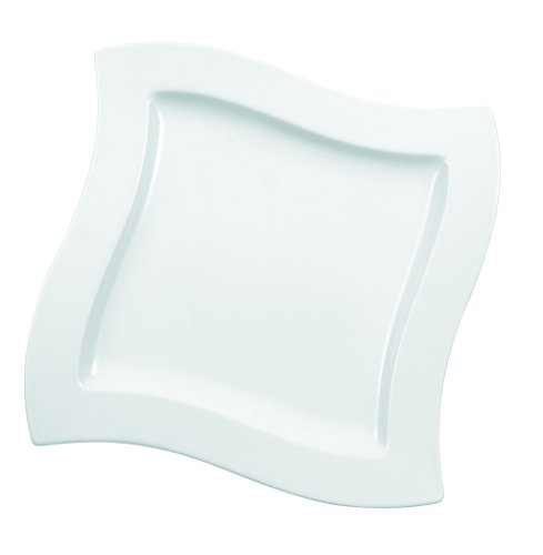 Villeroy Boch (New Wave Square Salad Plate Set of 4 by Villeroy & Boch Porcelain - Made in Germany - Dishwasher and Microwave Safe - Serves 4 - 9.25 Inches)