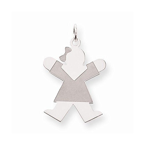 Sterling Silver Laser Cut Jumping Joy Kid Girl with Bow Charm Pendant